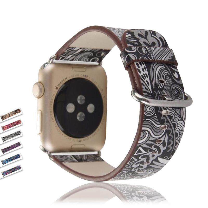 Accessories Apple Watch leather flower print band strap, 44mm/ 40mm/ 42mm/ 38mm Series 1 2 3 4 5