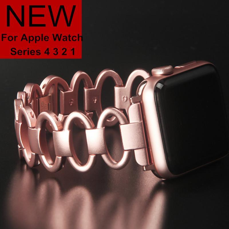 accessories Apple Watch Series 5 4 3 2 Band,  Elliptical Style Wristband, Stainless Steel Metal iWatch Strap 38mm, 40mm, 42mm, 44mm
