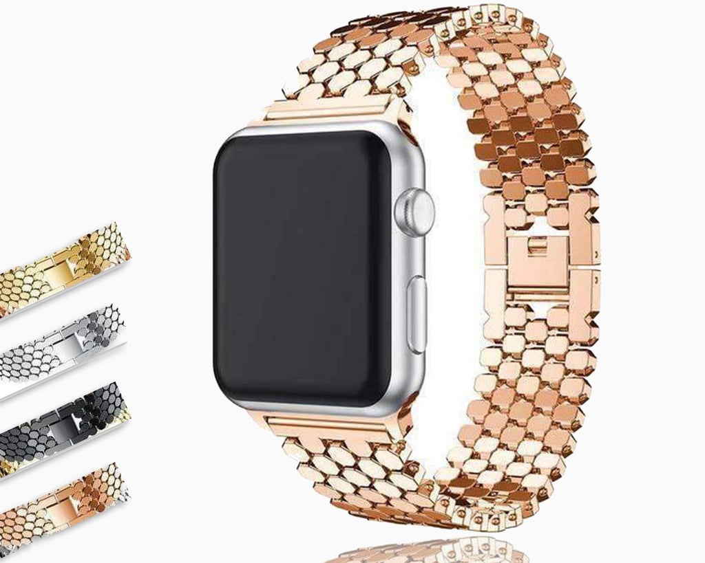 Accessories Apple watch series 5 4 3 2 Band honeycomb Stainless steel iwatch strap, 44mm, 40mm, 42mm, 38mm, US Fast Shipping