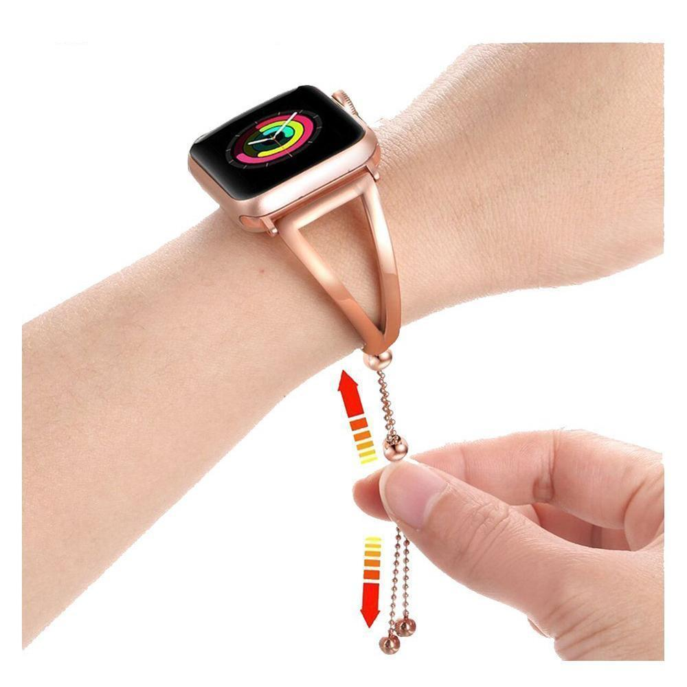 Accessories Apple Watch Series 5 4 3 2 Band, Luxury Cuff Stainless Steel Adjustable Bracelet Watchband Women 38mm, 40mm, 42mm, 44mm - US Fast Shipping