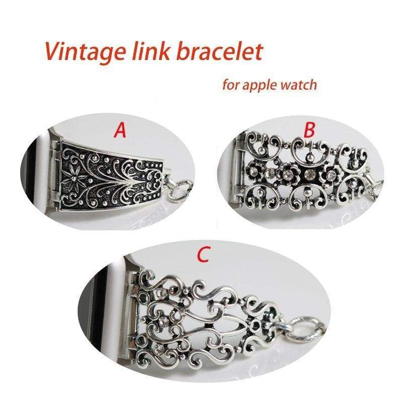 accessories Apple Watch Series 5 4 3 2 Band, Silver Apple watch band cuff. Vintage Link Bracelet Women Strap, Metal Carved iWatch, 38mm, 40mm, 42mm, 44mm