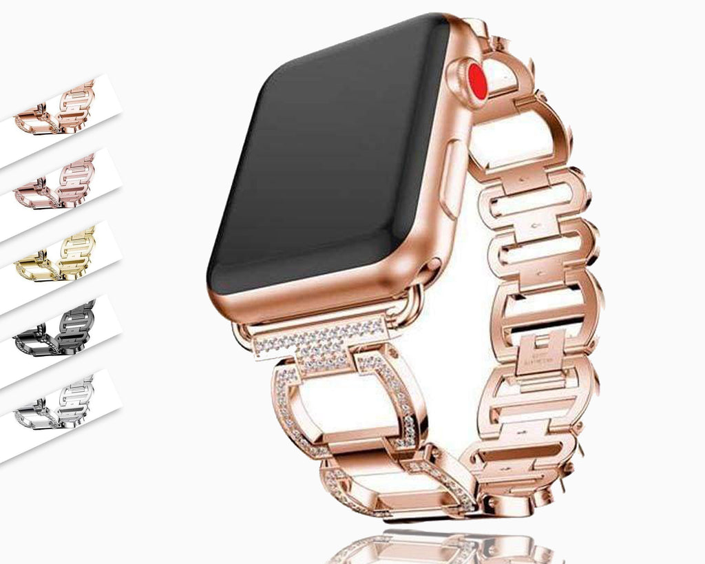 accessories Apple Watch Series 5 4 3 2 Band, Smart Watch Diamond Metal bracelet for iWatch 38mm, 40mm, 42mm, 44mm - US Fast Shipping