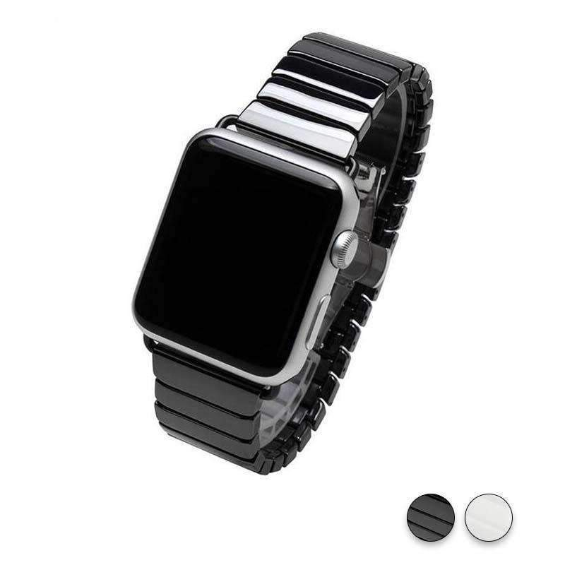 Accessories Black / 38mm / 40mm Apple Watch Series 5 4 3 2 Band, Ceramic link, Luxury Butterfly Clasp Loop Strap Black & white 38mm, 40mm, 42mm, 44mm - US Fast Shipping