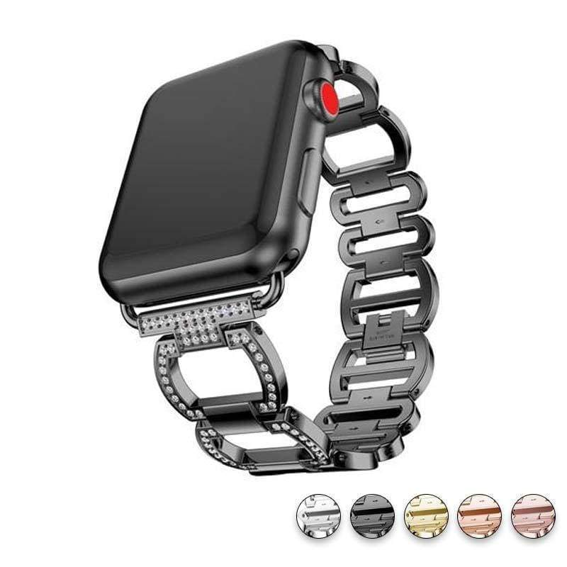 accessories Black / 38mm / 40mm Apple Watch Series 5 4 3 2 Band, Smart Watch Diamond Metal bracelet for iWatch 38mm, 40mm, 42mm, 44mm - US Fast Shipping