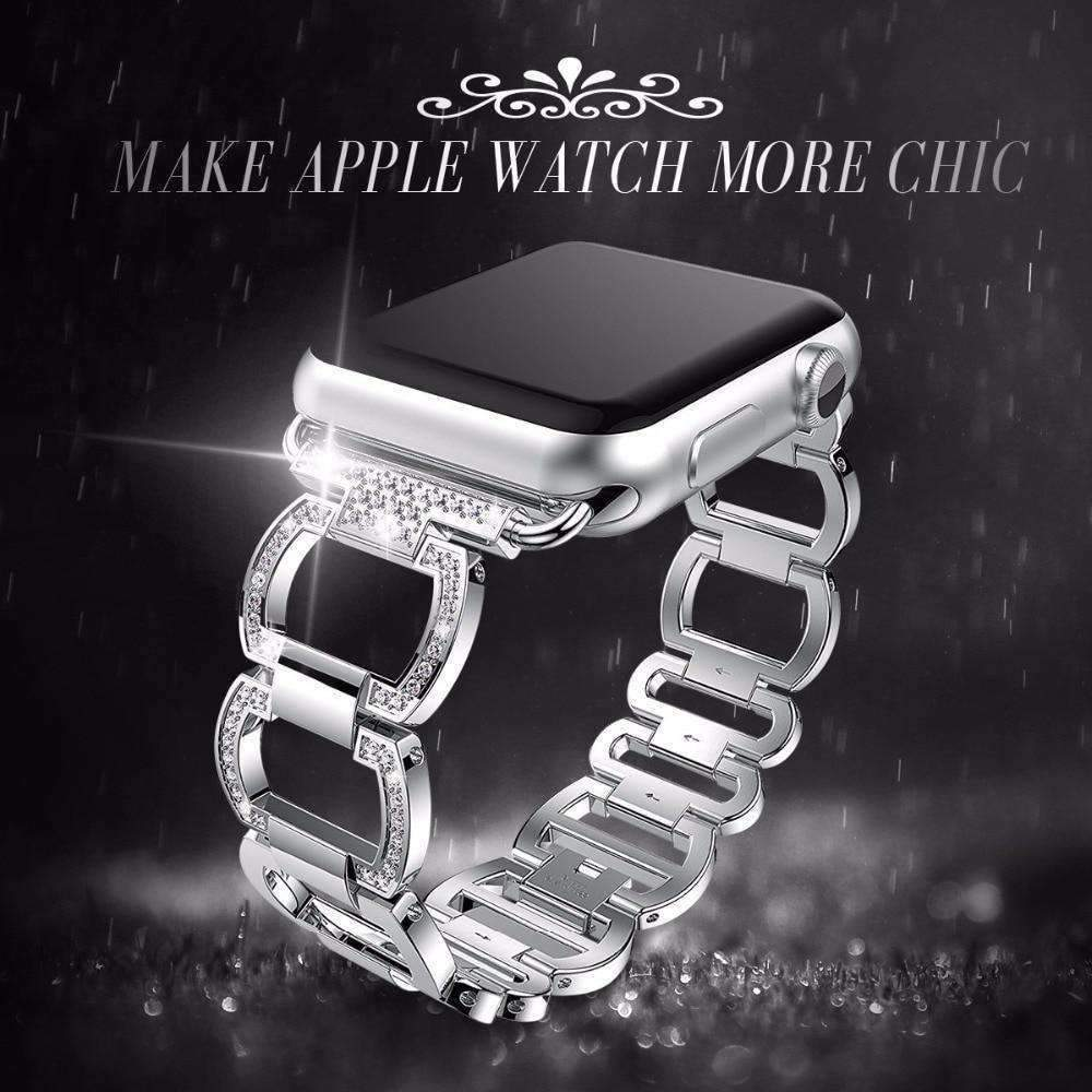 Accessories Black / 38mm / 40mm Apple Watch Series 5 4 3 2 Band, Stainless Steel, Bling Rhinestone Diamond  38mm, 40mm, 42mm, 44mm