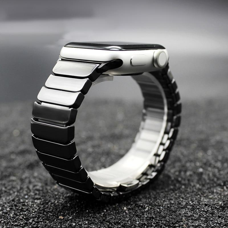 Accessories Black / 42mm / 44mm Apple Watch Series 5 4 3 2 Band, Ceramic link, Luxury Butterfly Clasp Loop Strap Black & white 38mm, 40mm, 42mm, 44mm - US Fast Shipping