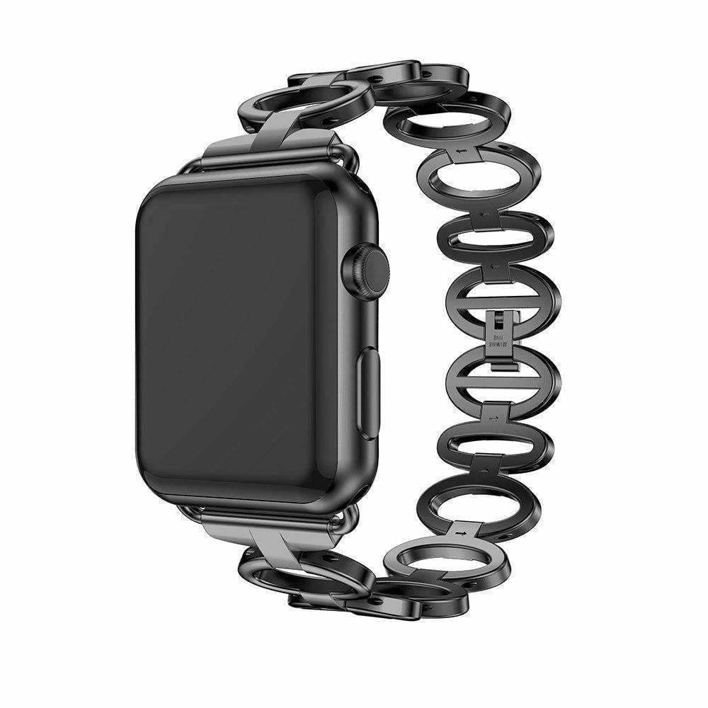 accessories Apple Watch Series 6 5 4 3 2 Band,  Elliptical Style Wristband, Stainless Steel Metal iWatch Strap 38mm, 40mm, 42mm, 44mm