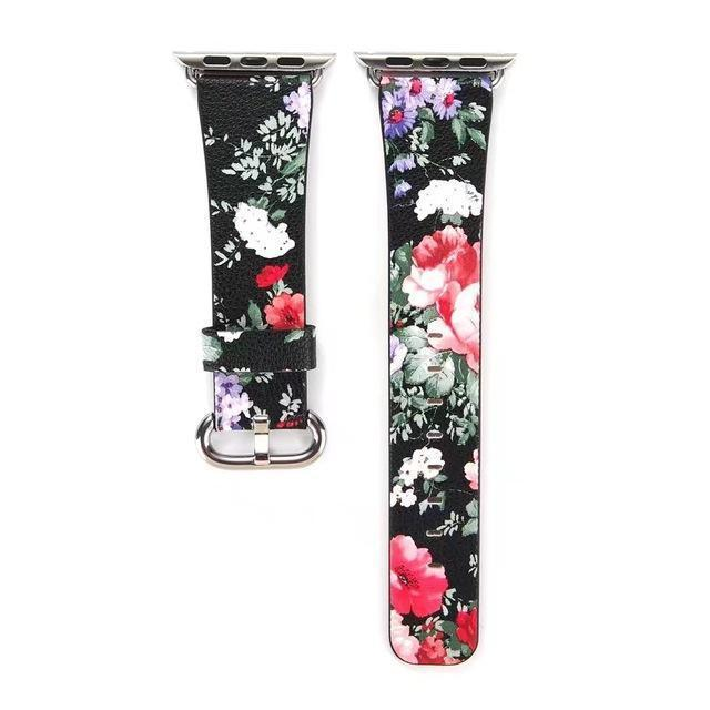 Accessories Black Floral / 38mm/40mm Apple Watch band Strap, Chinese Ink Painting Flower Vegan Leather,  44mm/ 40mm/ 42mm/ 38mm Wristband for iWatch Series 1 2 3 4