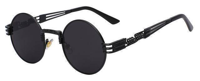 accessories Black w black 10 Colors, Gothic Steampunk  Unisex Metal Round Sunglasses UV400