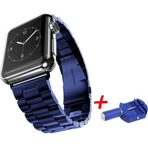 accessories Blue / 38mm / 40mm Apple Watch Series 5 4 3 2 Band, Sport Link Stainless Steel Metal Rolex Style Strap with tool 38mm, 40mm, 42mm, 44mm - US Fast Shipping