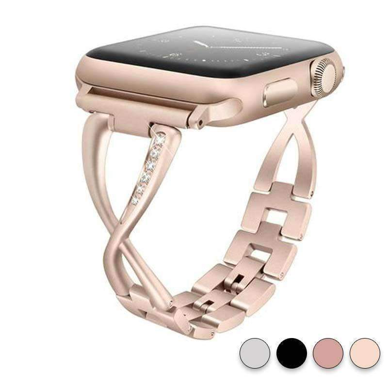 Accessories Gold / 38mm / 40mm Apple Watch Series 5 4 3 2 Band, Elegant Crystal bling Rhinestone Bracelet, Stainless Steel for iwatch 38mm, 40mm, 42mm, 44mm - US fast shipping