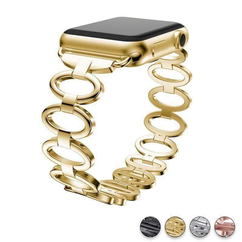 accessories Gold / 38mm / 40mm Apple Watch Series 5 4 3 2 Band,  Elliptical Style Wristband, Stainless Steel Metal iWatch Strap 38mm, 40mm, 42mm, 44mm