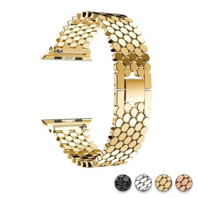 Accessories Gold / 38mm/40mm Apple Watch Series 5 4 3 2 Band, Hexagon Strap, Stainless Steel, iWatch, Watchbands, 38mm, 40mm, 42mm, 44mm -  US fast shipping