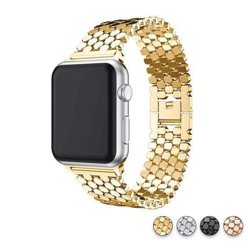 Accessories Gold / 38mm / 40mm Apple watch series 5 4 3 2 Band honeycomb Stainless steel iwatch strap, 44mm, 40mm, 42mm, 38mm, US Fast Shipping