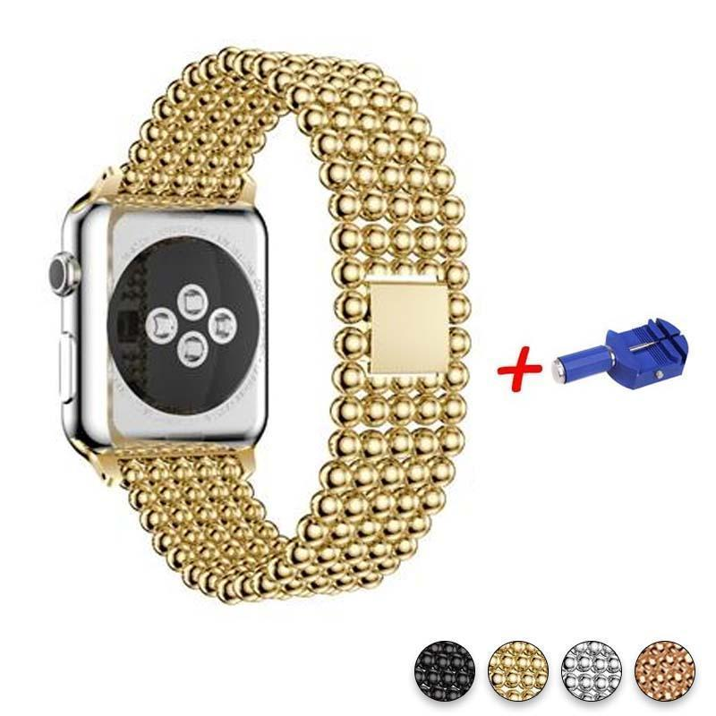 Accessories Gold / 42mm / 44mm Apple Watch Series 5 4 3 2 Band, Minimal Stainless Steel Metal, 38mm, 40mm, 42mm, 44mm - US Fast Shipping