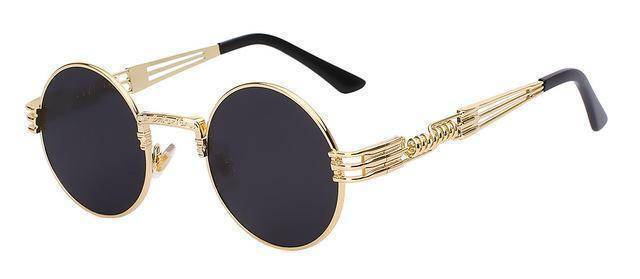 accessories Gold w black 10 Colors, Gothic Steampunk  Unisex Metal Round Sunglasses UV400