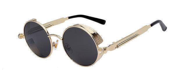 accessories Gold w black 15 Colors, Round Metal , Steampunk Unisex, Retro Vintage Sunglasses UV400