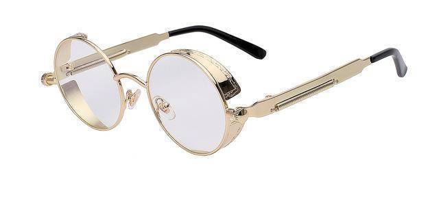 accessories Gold w clear lens 15 Colors, Round Metal , Steampunk Unisex, Retro Vintage Sunglasses UV400