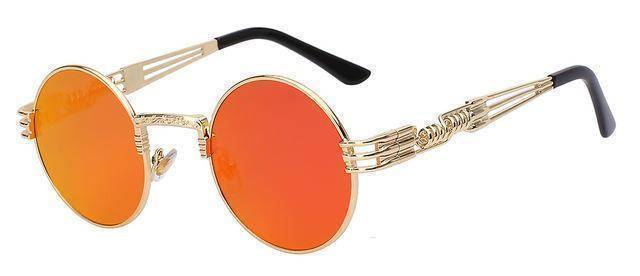 accessories Gold w fire mirror 10 Colors, Gothic Steampunk  Unisex Metal Round Sunglasses UV400