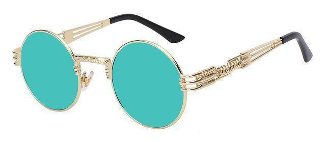 accessories Gold w green mirror 10 Colors, Gothic Steampunk  Unisex Metal Round Sunglasses UV400
