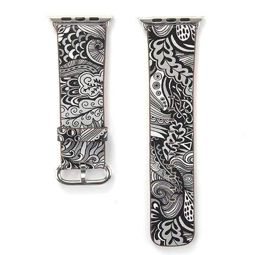 Accessories Gray / 38mm/40mm Apple Watch leather flower print band strap, 44mm/ 40mm/ 42mm/ 38mm Series 1 2 3 4