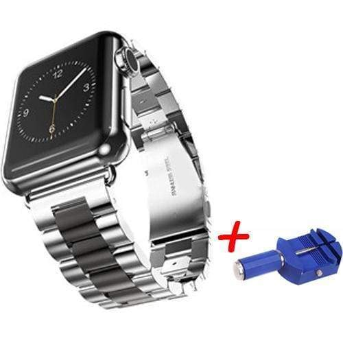 accessories Grey / 38mm / 40mm Apple Watch Series 5 4 3 2 Band, Sport Link Stainless Steel Metal Rolex Style Strap with tool 38mm, 40mm, 42mm, 44mm - US Fast Shipping
