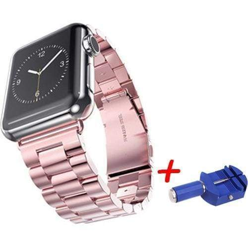 accessories Pink / 38mm / 40mm Apple Watch Series 5 4 3 2 Band, Sport Link Stainless Steel Metal Rolex Style Strap with tool 38mm, 40mm, 42mm, 44mm - US Fast Shipping