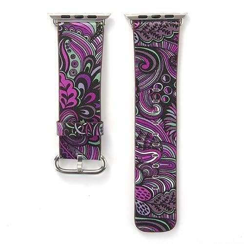 Accessories Purple / 38mm/40mm Apple Watch leather flower print band strap, 44mm/ 40mm/ 42mm/ 38mm Series 1 2 3 4
