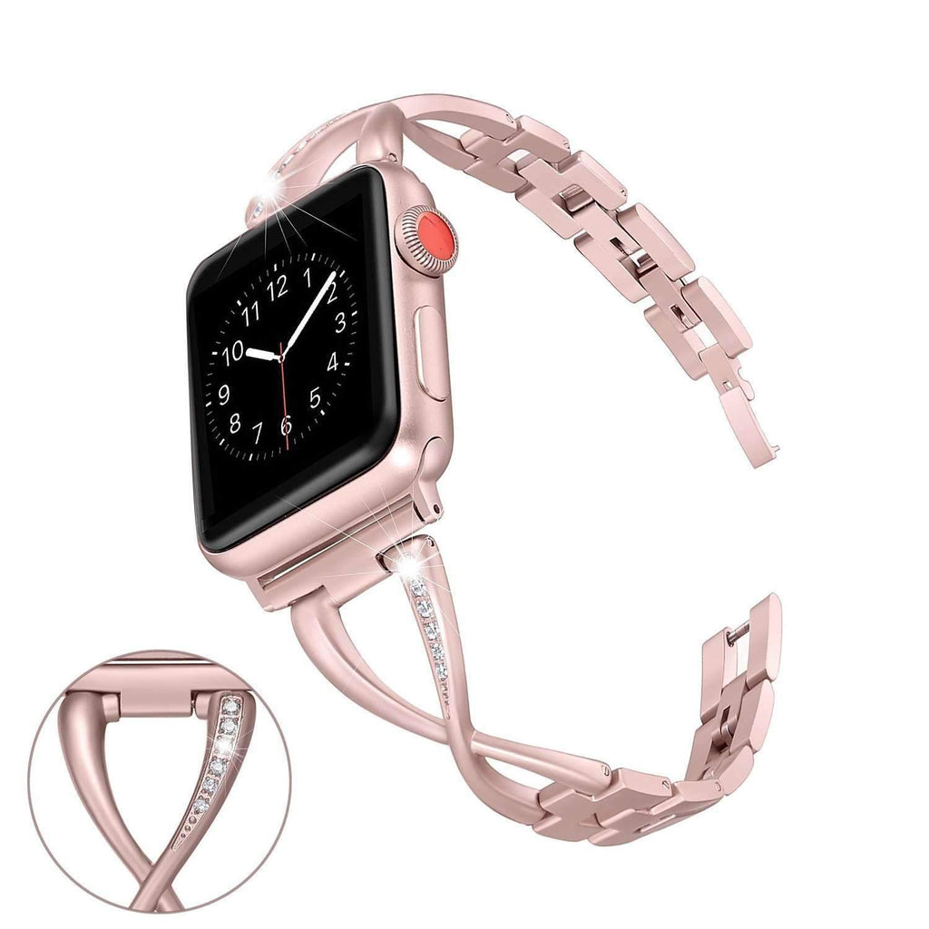 Accessories Rose gold / 38mm / 40mm Apple Watch Series 5 4 3 2 Band, Elegant Crystal bling Rhinestone Bracelet, Stainless Steel for iwatch 38mm, 40mm, 42mm, 44mm - US fast shipping