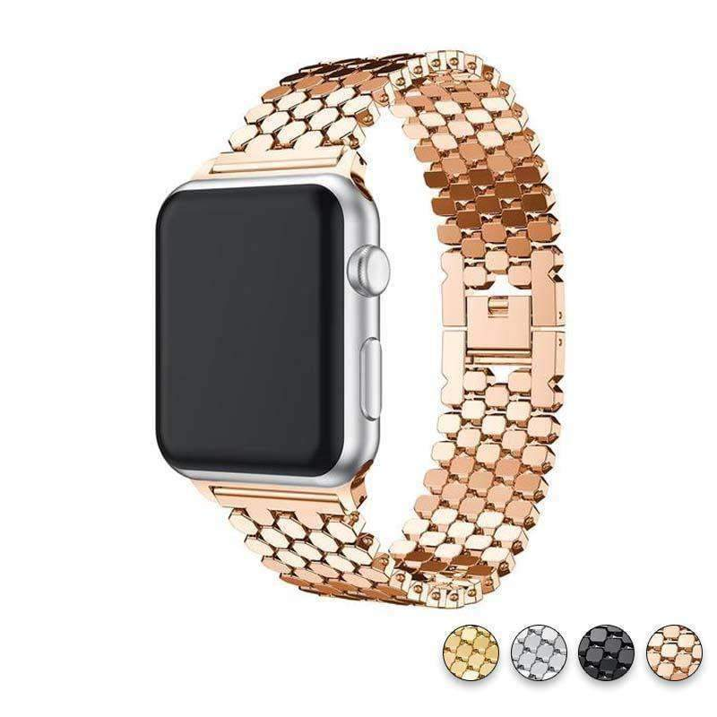 Accessories Rose Gold / 38mm / 40mm Apple watch series 5 4 3 2 Band honeycomb Stainless steel iwatch strap, 44mm, 40mm, 42mm, 38mm, US Fast Shipping