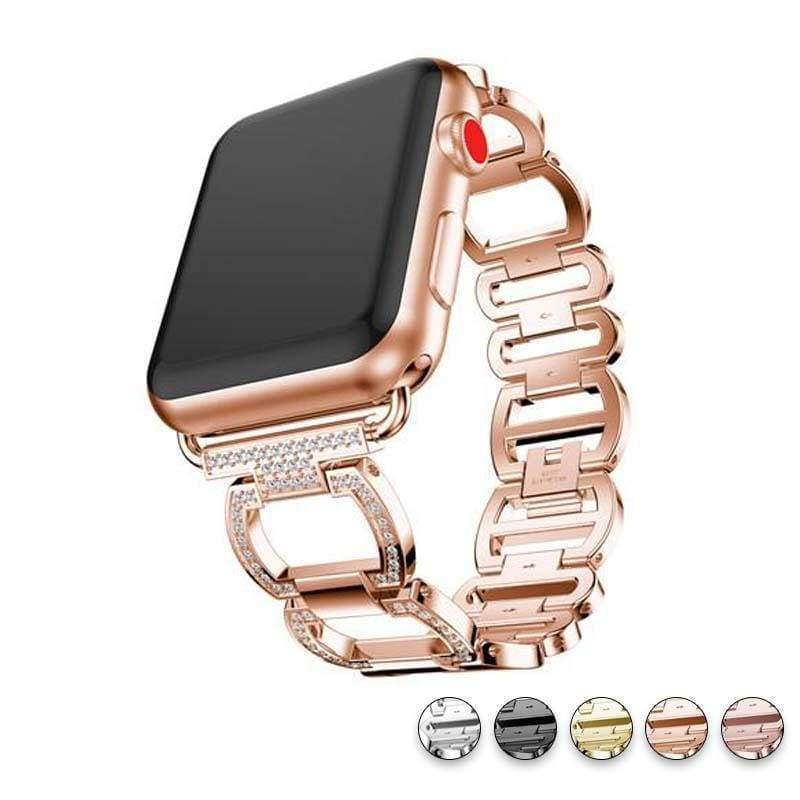 accessories Rose Gold / 38mm / 40mm Apple Watch Series 5 4 3 2 Band, Smart Watch Diamond Metal bracelet for iWatch 38mm, 40mm, 42mm, 44mm - US Fast Shipping