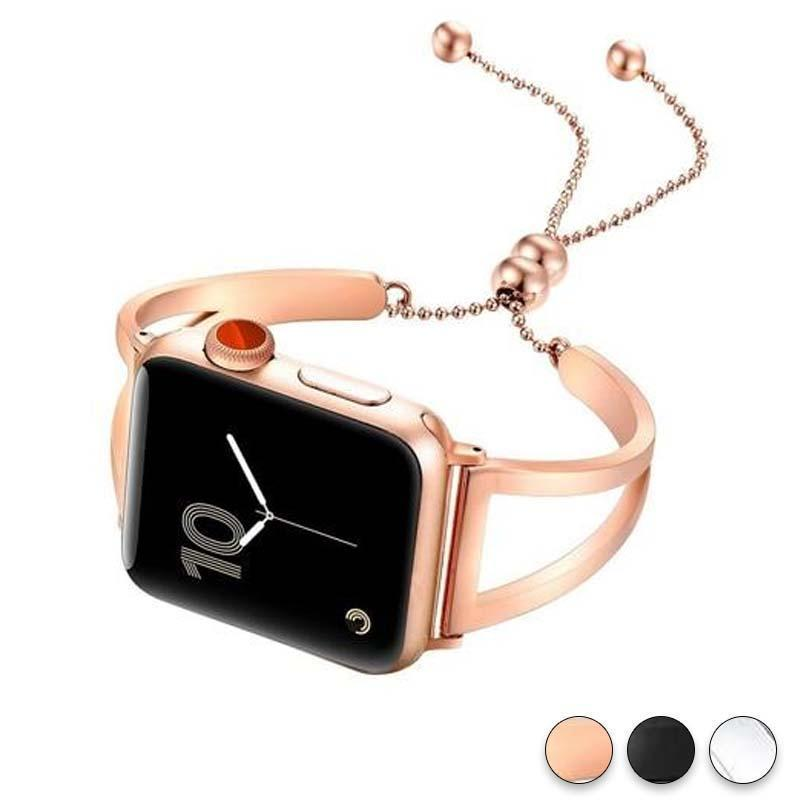 Accessories Rose Gold / 42mm / 44mm Apple Watch Series 5 4 3 2 Band, Luxury Cuff Stainless Steel Adjustable Bracelet Watchband Women 38mm, 40mm, 42mm, 44mm - US Fast Shipping