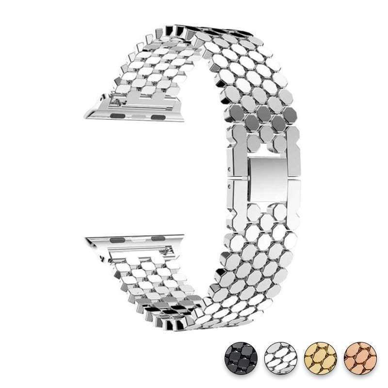 Accessories Silver / 38mm/40mm Apple Watch Series 5 4 3 2 Band, Hexagon Strap, Stainless Steel, iWatch, Watchbands, 38mm, 40mm, 42mm, 44mm -  US fast shipping