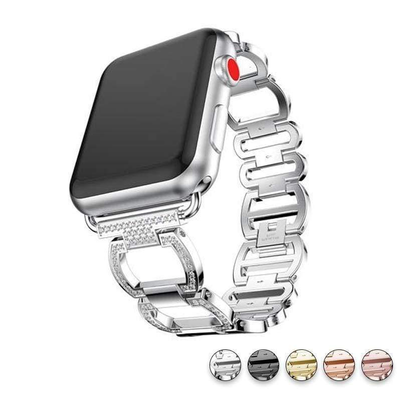 accessories Silver / 38mm / 40mm Apple Watch Series 5 4 3 2 Band, Smart Watch Diamond Metal bracelet for iWatch 38mm, 40mm, 42mm, 44mm - US Fast Shipping