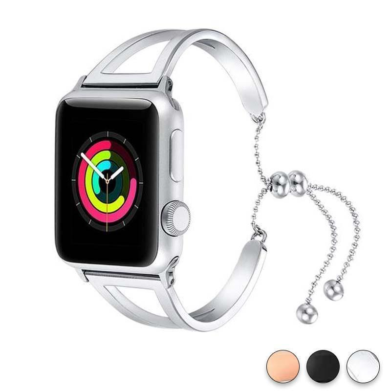Accessories Silver / 42mm / 44mm Apple Watch Series 5 4 3 2 Band, Luxury Cuff Stainless Steel Adjustable Bracelet Watchband Women 38mm, 40mm, 42mm, 44mm - US Fast Shipping