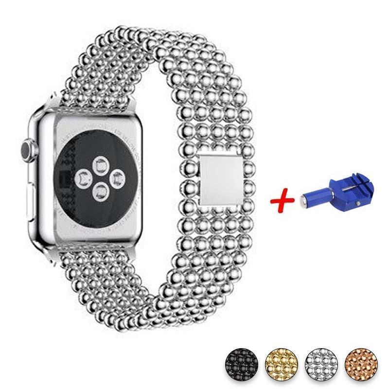Accessories Silver / 42mm / 44mm Apple Watch Series 5 4 3 2 Band, Minimal Stainless Steel Metal, 38mm, 40mm, 42mm, 44mm - US Fast Shipping