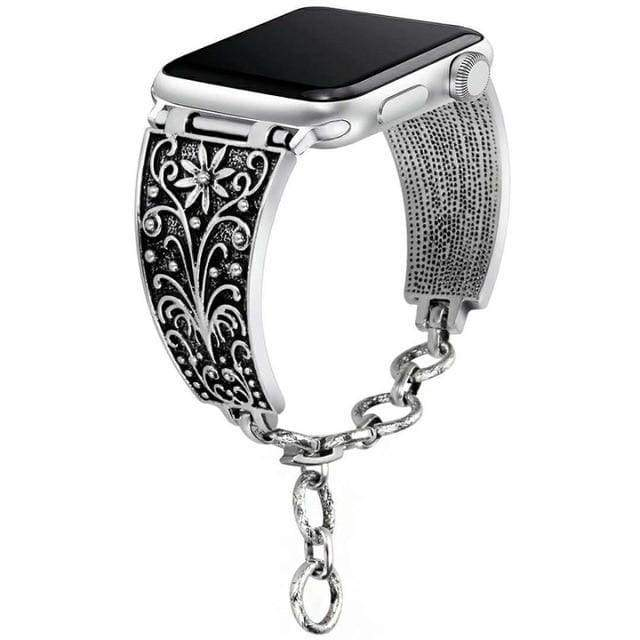 accessories Silver Black A / 38mm / 40mm Apple Watch Series 5 4 3 2 Band, Silver Apple watch band cuff. Vintage Link Bracelet Women Strap, Metal Carved iWatch, 38mm, 40mm, 42mm, 44mm