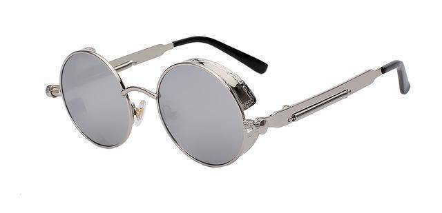 accessories Silver w silver mir 15 Colors, Round Metal , Steampunk Unisex, Retro Vintage Sunglasses UV400