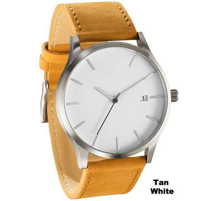 Accessories Tan White Minimalist Unisex Designer Watches