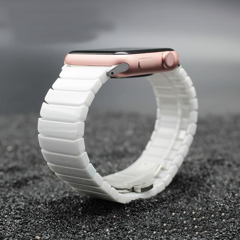 Accessories White / 38mm / 40mm Apple Watch Series 5 4 3 2 Band, Ceramic link, Luxury Butterfly Clasp Loop Strap Black & white 38mm, 40mm, 42mm, 44mm - US Fast Shipping