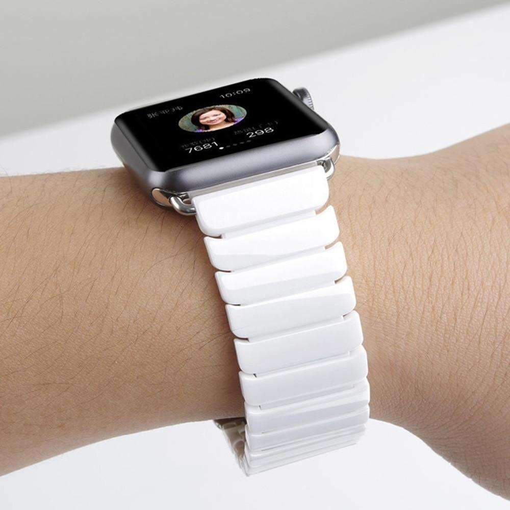 Accessories White / 42mm / 44mm Apple Watch Series 5 4 3 2 Band, Ceramic link, Luxury Butterfly Clasp Loop Strap Black & white 38mm, 40mm, 42mm, 44mm - US Fast Shipping