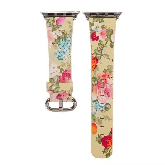 Accessories Yellow Floral / 38mm/40mm Apple Watch band Strap, Chinese Ink Painting Flower Vegan Leather,  44mm/ 40mm/ 42mm/ 38mm Wristband for iWatch Series 1 2 3 4