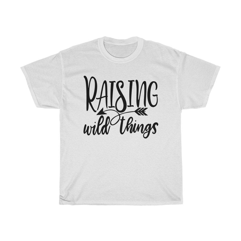T-Shirt White / S Raising Wild Things shirt, cute mom Top tee, Gifts for mother, unisex tshirt