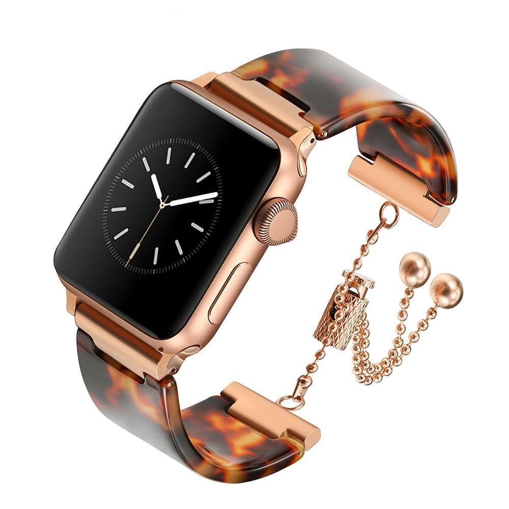 Apple 38mm Apple Watch Series 5 4 3 2 Band, Brown Resin cuff, Rose gold Stainless Steel Women Jewelry Band Wrist Strap Bracelet 38mm, 40mm, 42mm, 44mm