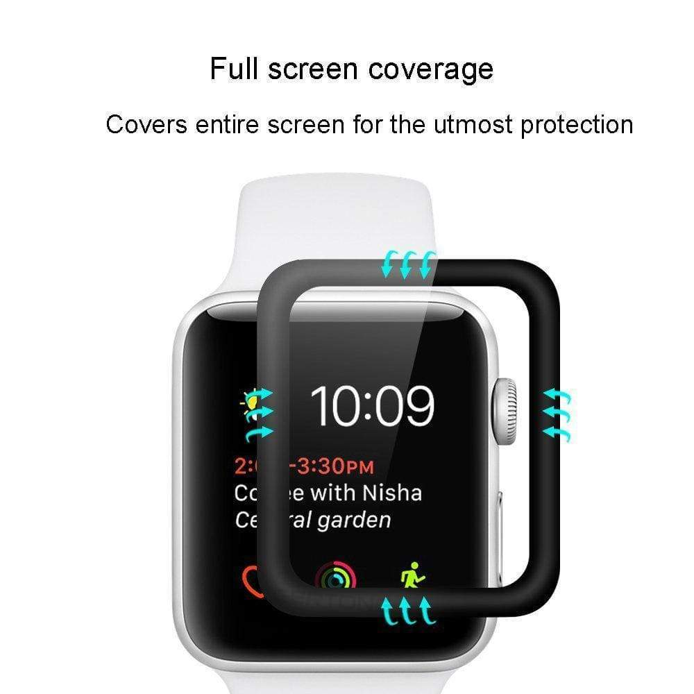 Apple 3D Curved Full Cover Tempered Glass For Apple Watch Series 1 2 3 4  44mm/ 40mm/ 42mm/ 38mm Screen Protector Surface Protective Film