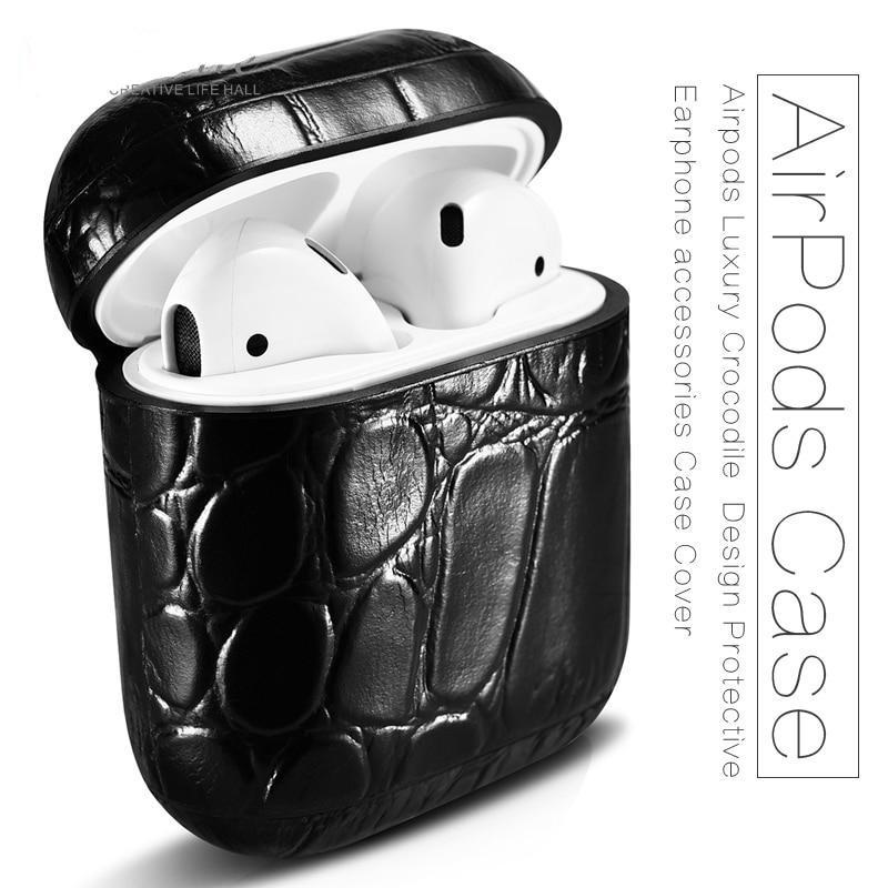 Apple AirPods Case cover, Genuine crocodile Leather Apple cover, Luxury  Design Protective Earphone accessories