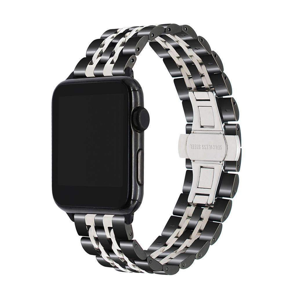 Apple Apple watch band link sport strand Stainless Steel Watchband for iWatch  44mm/ 40mm/ 42mm/ 38mm Series 1 2 3 4  Bracelet strap Black Rose Gold Silver