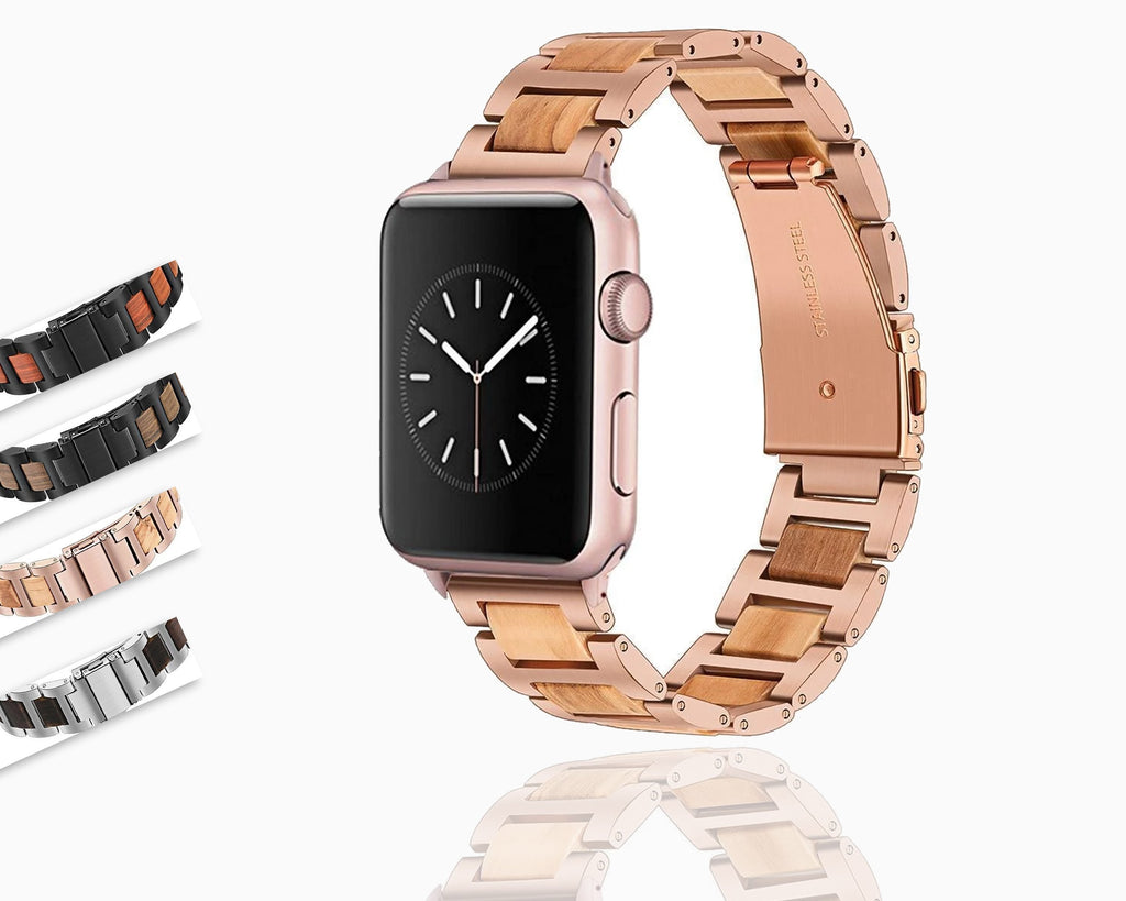 Apple Apple Watch  Band, Natural Wood & Stainless Steel sport link Strap Bracelet Watchband for  Series 5 4 3 iWatch 38mm 40mm, 42mm, 44mm