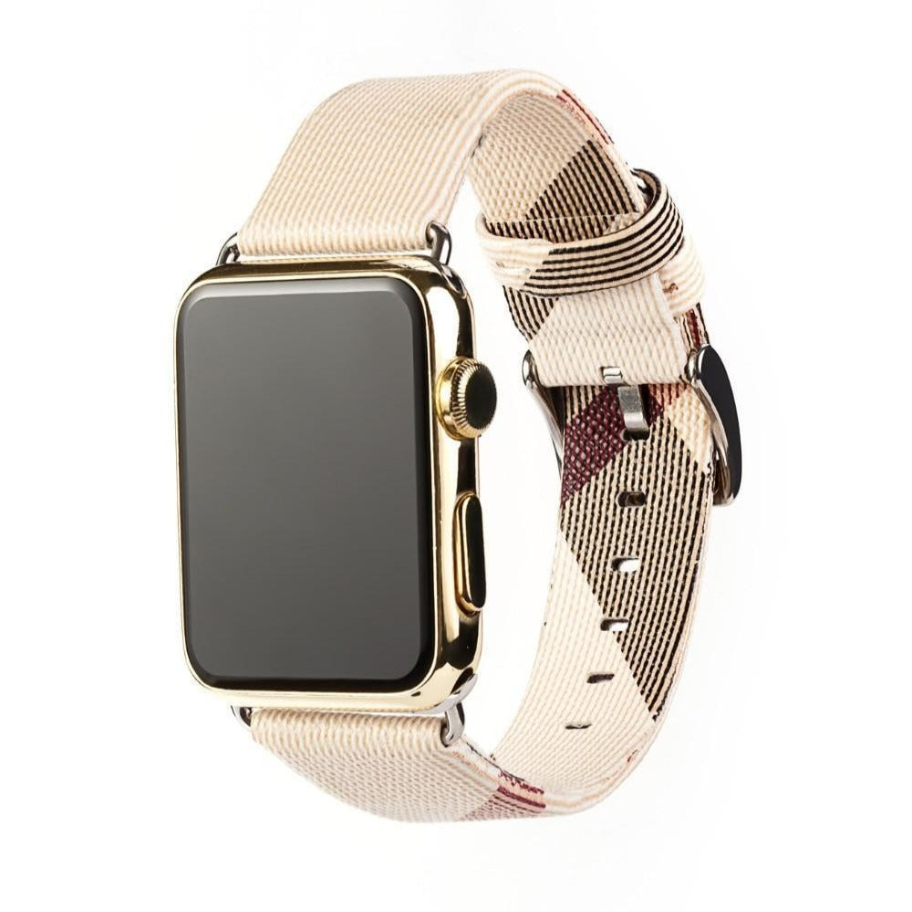 Apple Watch band plaid checkered leather with Silver Metal Connector, Replacement strap for iWatch 38mm, 40mm, 42mm, 44 mm, series 6 5 4 3 2 1