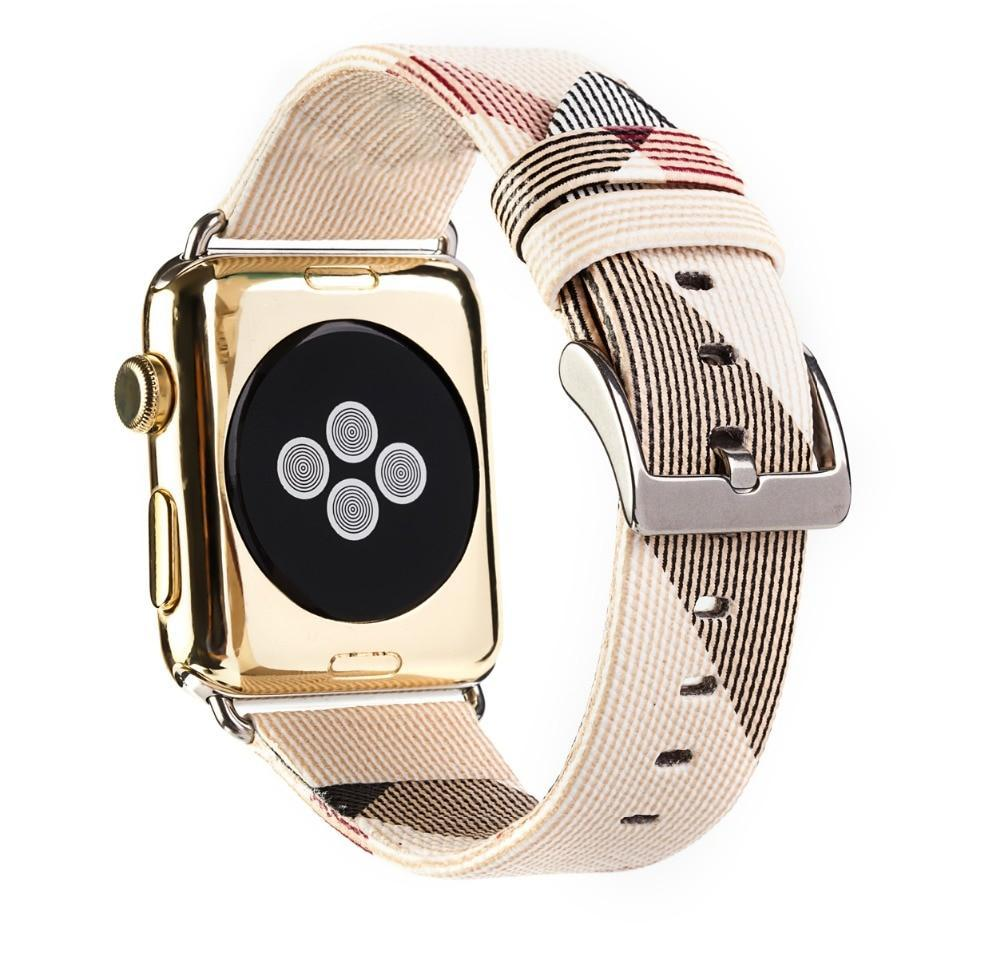 Apple Apple Watch band plaid checkered leather with Silver Metal Connector, Replacement strap for iWatch 38mm, 40mm, 42mm, 44 mm, series 4 3 2 1